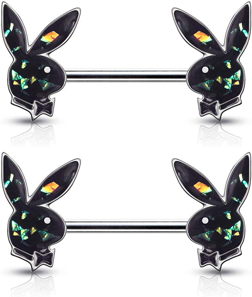 Pair of Dynamique Opal Glitter Filled Playboy Bunny Ends 316L Surgical Steel Barbell Nipple Rings