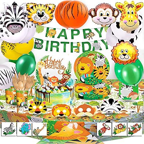 BEA's Party Giungla Compleanno Giungla Decorazioni Palloncini Animali Giungla Party Decorazioni Animali Foresta Compleanno Kit Festa Compleanno Bambini Safari Compleanno stoviglie biodegradabili