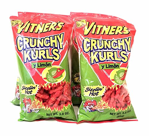 Vitner's Sizzlin Hot Limon 4 Pack Flavored Crunchy Curls 4 3 oz Bags