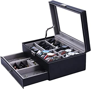 Watch Box Sunglasses Organizer with Jewelry Box for Men Women