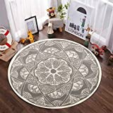 Boho Cotton Round Rug,LEEVAN 4ft Gray Mandala Throw Area Rug with Tassels Soft Vintage Look Washable Carpet Indoor Teepee Tent Door Mat for Toddler Room Bedroom Living Room