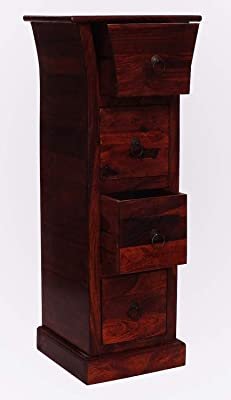Wood Dekor Prema Solid Sheesham Wood 4 Drawer Storage Cabinet Walnut Finish