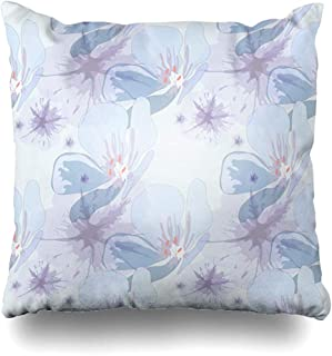 Throw Pillow Covers Drawing Raster Modern Colors Pastel Abstract Watercolor Pattern Cambric Floral Flower Design Zippered Cushion Pillowcase Square Size 18 x 18 Inches Home Decor Case