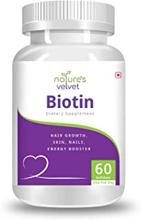 Natures Velvet Lifecare Biotin for Healthy Hair, Skin & Nails and Energy, 60 Softgels - Pack of 1