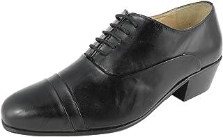 Mens Cuban Heel Shoes Black Leather Montecatini Slip-on Pleated Vamp Size 6-12