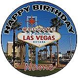 AK Giftshop Decoración para tarta de cumpleaños de Las Vegas, redonda, 20 cm, para cualquier edad y nombre
