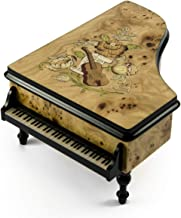 Gorgeous 30 Note Burl - Elm Music and Floral Theme Grand Piano Music Box - Raindrops Keep Falling On My Head