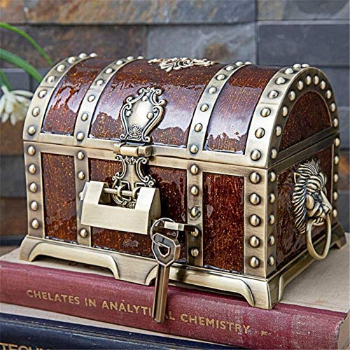 GIAOYAO Jewellery Box Organiser Metal Creative Multilayer Locked Treasure Box European Retro Pirate Box Jewelry Storage Box for Girls Ladies Women (Color : Gold, Size : 20.5X13X12.8CM)