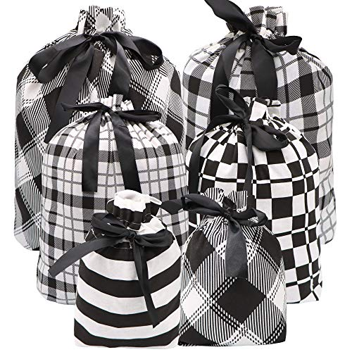 6 Christmas Fabric Gift Bags in Black Elegant Color for Xmas Party Favors, Holiday Giving, Gift Goody Bags, Holiday Presents Décor, Giant Gifts Decorations
