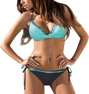 LBPSUUEW Womens Bathing Suits Bandeau Bandage Bikini Set Push-Up Brazilian Swimwear Beachwear Two Piece Swimsuits