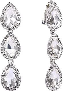 Women's Austrian Crystal Teardrop Pear Shape 2.4 Inch Long Clip-on Dangle Earrings