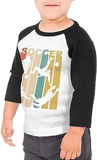 Boys Girls Kids & Toddler 1970's Style Soccer Long Sleeve T-Shirt 100% Cotton