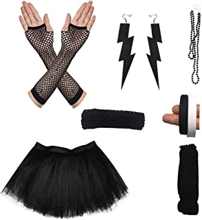 SURPCOS 80s Outfit Costume Accessories Women Tutu Skirt Earings Stretch Headband Necklace Bracelets Fishnet Gloves Leg Warmer