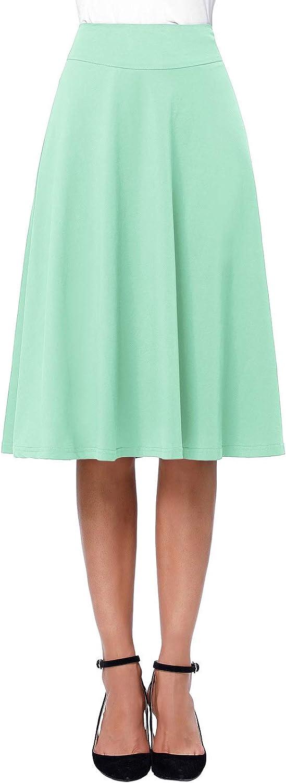 Kate Kasin Flared Stretchy Midi Skirt High Waist Jersey Skirt for Women