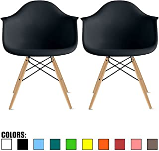 2xhome Set of 2 Black Plastic Armchair Natural Wood Legs Eiffel Dining Room Chair Lounge Chair Arm Chair Arms Chairs Seats Wooden Wood Leg (Black - Natural Leg)