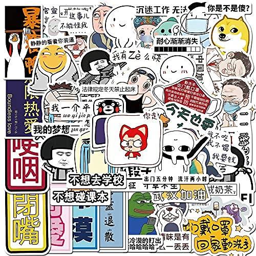 WANCHANG 40 Graffiti Creative Text Emoji Packs Coche eléctrico Equipaje Trolley Maleta...