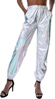 Womens Shiny Metallic High Waist Stretchy Jogger Pants,...