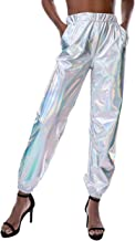 Weigkous Womens Metallic Shiny Jogger Pants, Casual High Waisted Harem Pant Holographic Color Hip Hop Trousers Streetwear