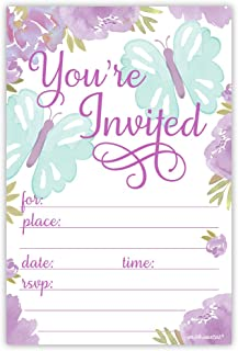 Butterfly Invitations | 20 Count With Envelopes | Purple Floral Watercolor