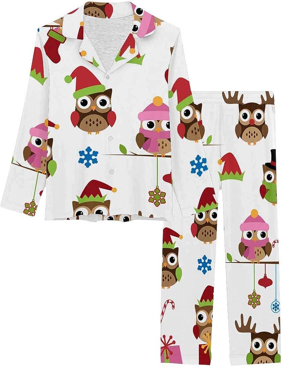 InterestPrint Soft Nightwear Loungewear with Long Pants Pajamas Set Christmas Themed Owls