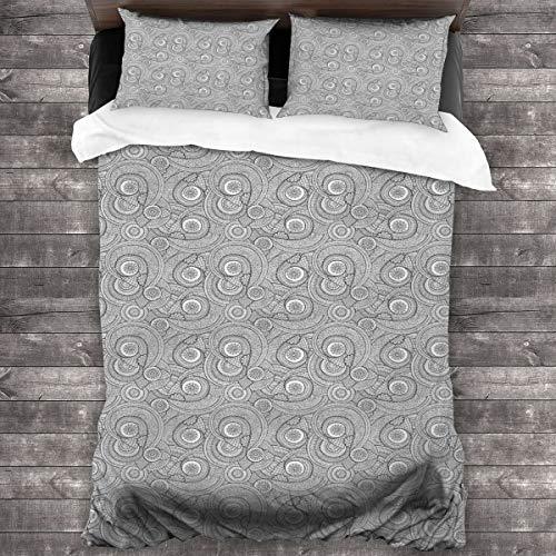 LiBei Duvet Cover Set 3 PCS,Colorful Geometric Circle Designs,Bedding Duvet Cover with 2 Pillowcases(Single 135x210cm)