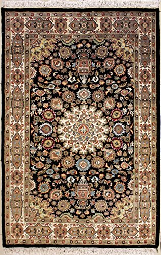 RugsTC 124 x 190 Pak Persian Area Rug with Silk & Wool Pile - Ardabil Design Hand-Knotted in Black,Beige,White Colors | a 122 x 183 Rectangular Rug