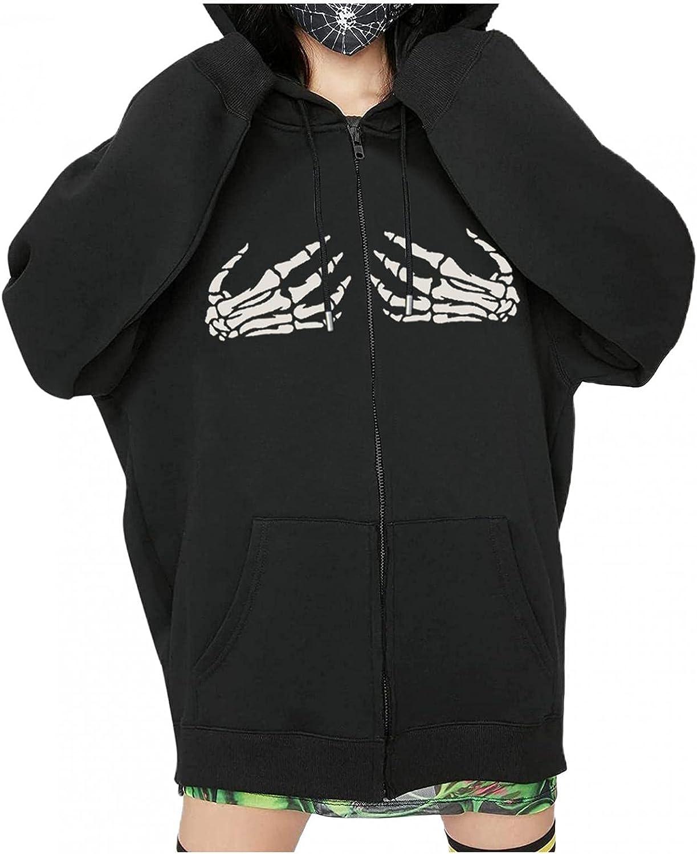 UOCUFY Halloween Hoodies for Women, Womens Y2k Skeleton Graphic Zip Up Oversized Pullover Sweatshirt Jacket with Pockets