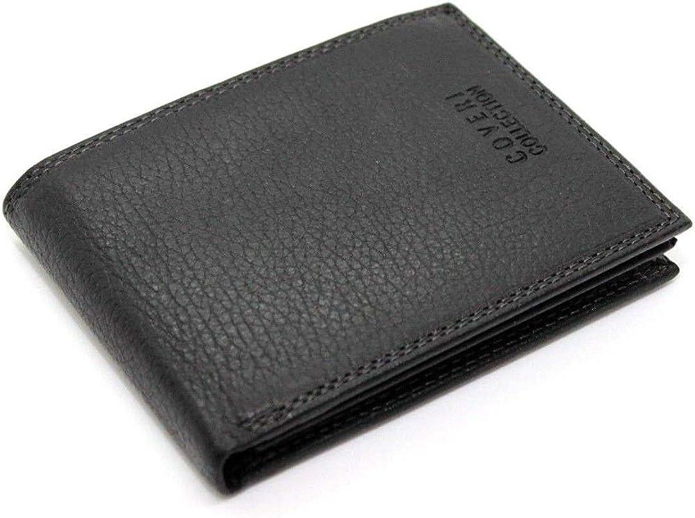 Enrico coveri, portafoglio in vera pelle per uomo, con portamonete porta carte ,e ribaltina
