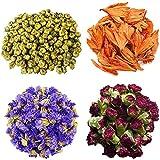 TooGet Petali e Boccioli di Fiori Includono Crisantemo, Giglio, Nontiscordardime, Dianthus Caryophyllus, Fiore Sfuso di tè Verde per Fare l'olio Botanico, Perfetto per Tutti i Tipi di Artigianato