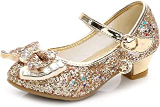 satisfied Enfant Princess Shoes Spring Girls Shoes High-Heeled Shoe Fashion Children's High Heels Silver Gold Pink Blue Bow