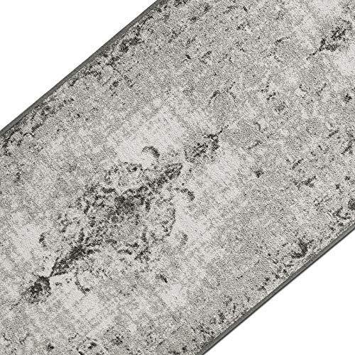 casa pura Teppichläufer im Vintage Look | brilliante Farben | hochwertige Meterware, gekettelt | Kurzflor Teppich Läufer | Küchenläufer, Flurläufer (Grau, 80x250 cm)