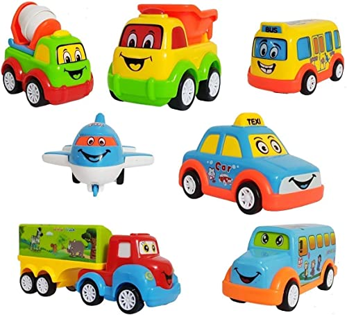 Galaxy Hi Tech Exclusive Non Toxic Unbreakable Automobile Car Toy Set Pull Back Car Truck Toy Aeroplane Set for Kids Boy and Girl Pack of 7 Multicolor