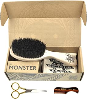 Beard & Mustache Set of Kent BRD5 Boar Bristle Beard Brush + Kent 81T Handmade Sawcut Comb + Camila Solingen CS45 Barber Scissors from Germany. Grooming & Trimming Kit for Men Care. Great Gift !!
