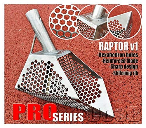 CooB Pro Beach Sand Scoop Shovel Metal Detector, Sand Scoops Treasure Detecting, Metal Detector Hunting Stainless Steel Tool, Hexahedron Holes (ProSeries Stealth)