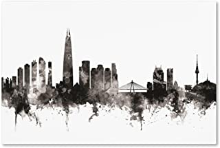 Seoul Skyline South Korea III by Michael Tompsett, 12x19-Inch Canvas Wall Art