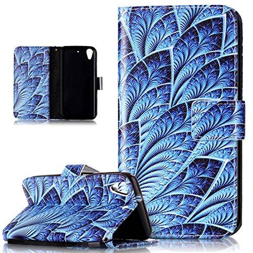Kompatibel mit HTC Desire 626G Hülle,HTC Desire 626G Schutzhülle,Bunte Gemalt PU Lederhülle Flip Hülle Cover Ständer Etui Karten Slot Wallet Tasche Hülle Schutzhülle für HTC Desire 626G,Blaue Feder