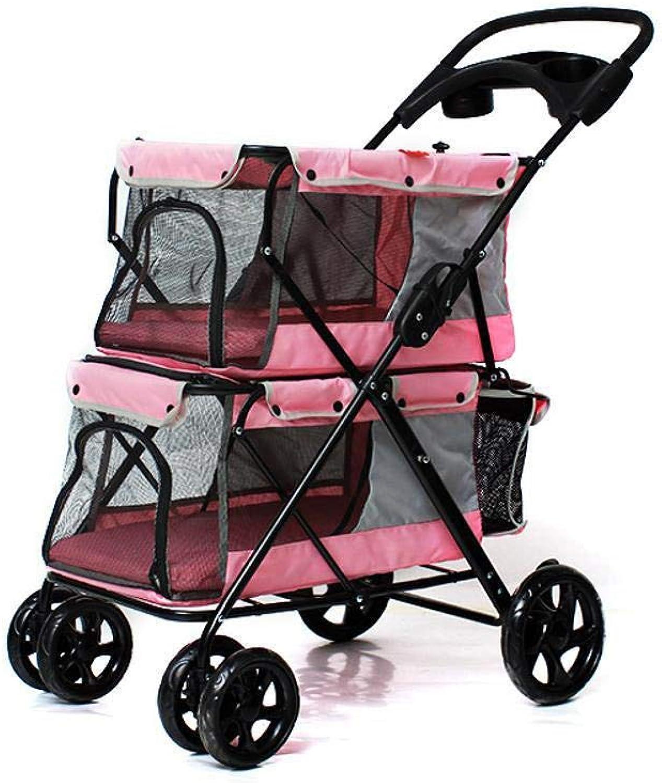 Dixinla Pet Stroller Cat Dog doubledecker pet car portability Pet Supplies