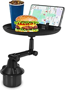 Lsyomne Car Cup Holder Tray for Car Adjustable Car Tray Table with Surface, Phone Slot, and 360° Swivel Arm Enjoy Your Meal and Stay Organized - Car Food Table for Cup Holders