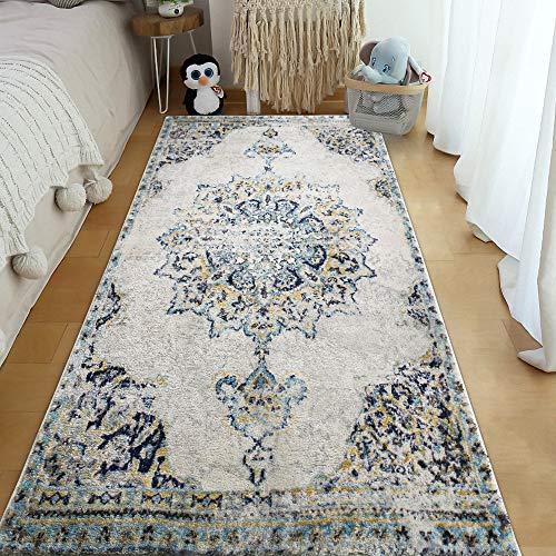 YX-lle Home Alfombra de pasillo con patrón floral, antideslizante, para sala de estar, dormitorio, entrada, guardarropa, piano, balcón (Retroeuropeo, 80 x 180 cm)