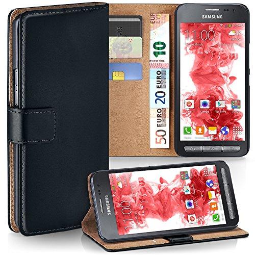 MoEx® Booklet mit Flip Funktion [360 Grad Voll-Schutz] für Samsung Galaxy Xcover 3 | Geldfach und Kartenfach + Stand-Funktion und Magnet-Verschluss, Schwarz