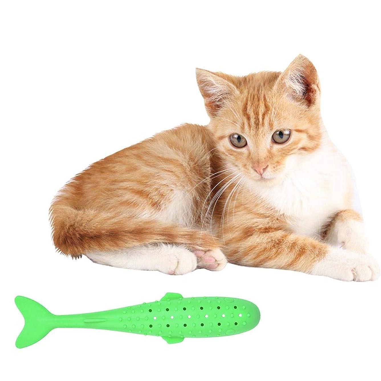 有益直接存在するhipoten インタラクティブな魚の形の歯ブラシキャットニップシミュレーションシリコーン歯のクリーニングチューおもちゃペット用品
