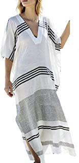 Womens Pool Swimwear Cover Up Long Robe Bathing Kimono Beach-Suit Stripe Lace Maxi Skirt Boho Gown Blouse