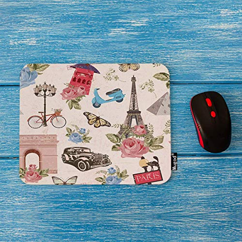 Mugod Paris Travel Mouse Pad Vintage Paris City with Bicycle Car Flowers Butterfly Decor Gaming Mouse Pad Rectangle Non-Slip Rubber Mousepad for Computers Laptop 7.9x9.5 Inches