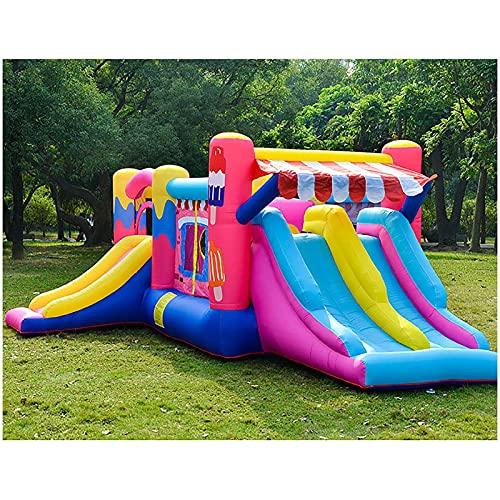 YQGOO Castillos hinchables Verano al Aire Libre Tobogán acuático Inflable Engrosamiento Hogar para niños Castillo Grande Inflable Trampolín Grande, 520X275X205cm,