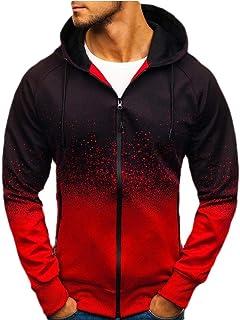 FSSE Men's 3D Print Hoodie Athletic Casual Zip Front Sweatshirt Jacket Coat Outwear