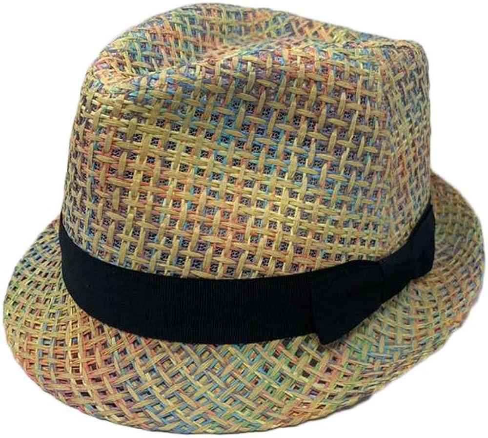 The Hatter Women Summer Cool Woven Pattern Flower Printed Band Paper Straw Fedora Sun Hat Cap