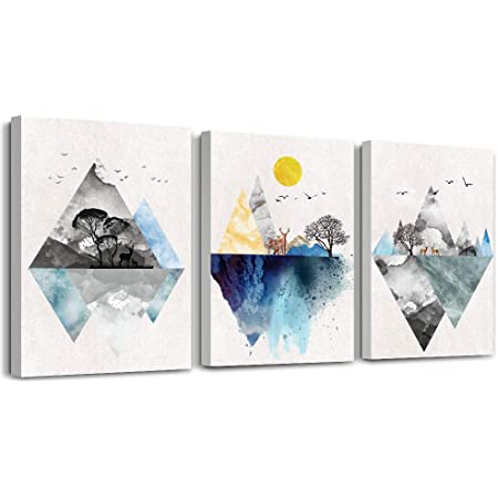 Wall Art For Living Room Canvas Prints Artwork Bathroom Wall Decor Abstract Mountain Geometric Picture Watercolor Painting 3 Pieces Framed Bedroom Wall Decorations Fashion Office Home Decoration Posters Prints