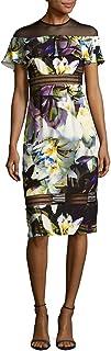 Nicole Miller Women's Daffodil Crepe Sheer Shldr Flare Dress