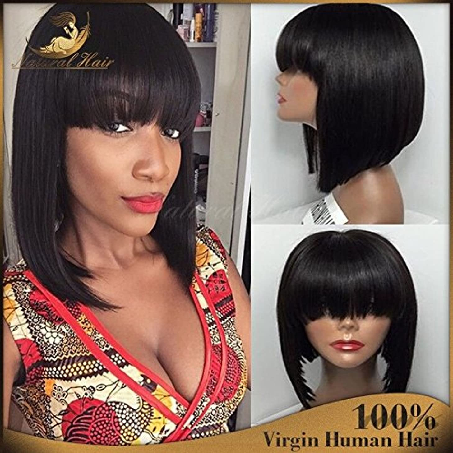 Short Bob Human Hair Lace Front Wig Full Bangs Glueless Short Brazilian Straight Human Hair Wig with Baby Hair for Black Woman 130 Density Lace front Bob Wigs with Fringe (10 inch, lace frontal wig)