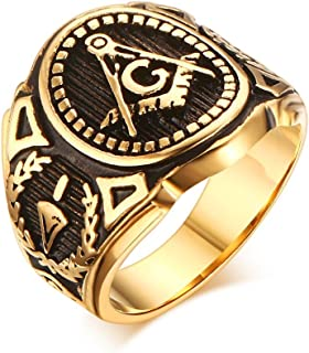 Dixey Luxury Anillos Masónicos de Titanio Enchapado en Oro RI2345